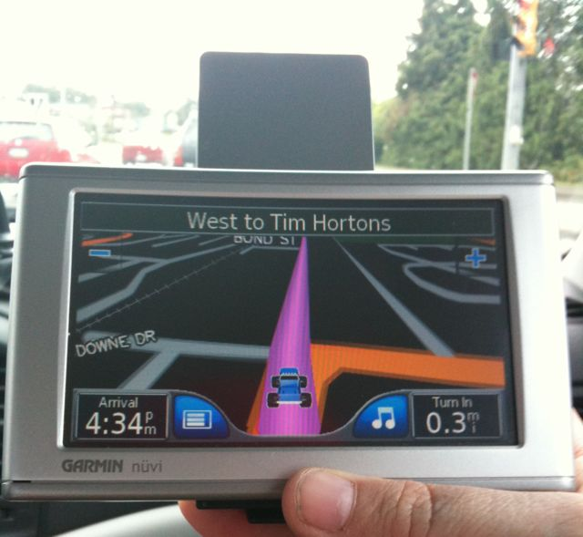 gps taking us to Tim Horton's
